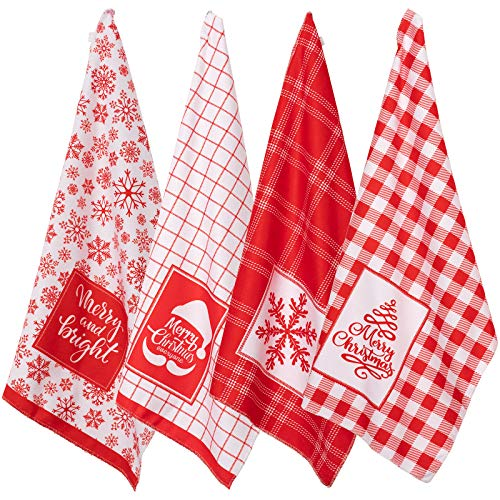 Whaline Christmas Kitchen Towel Red White Plaid Dish Towel Snowflake Xmas Tree Soft Dishcloth Large Size Decorative Holiday Cloth Towel for Christmas Home Kitchen Coking Baking, 4 Designs, 28 x 18