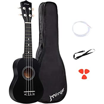 JMFinger Soprano Ukulele Beginner 21 Inch, Professonial Ukele for Kids Bundle with Gig Bag, Extra Strings, Picks, Strap, Black