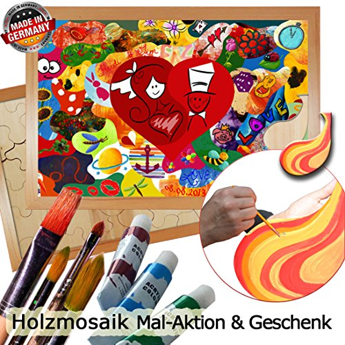 galleryy.net Holzmosaik Klassik zum Bemalen ++ Rahmenfarbe BUCHE ++ 80x55cm mit ca. 45 Puzzleteilen