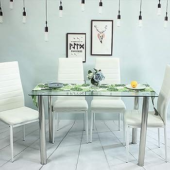 jesfuerzdoutlet - Juego de 4 sillas y mesa de comedor de cristal ...