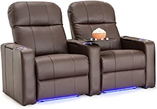 Seatcraft Venetian Leather Home Theater Seating - Power Recline (Row of 2, Brown)