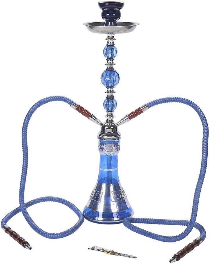 BJYX 2 Mangueras Cachimba Juego Completo de Shisha Cuerpo de Vidrio + Olla de Humo de Cerámica + Cenicero de Aleación + Manguera de Resina + Clip de Carbono de Acero Inoxidable,Azul