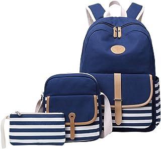 Litthing Mädchen Schulrucksack Umhängetasche und Geldbeutel 3 Tasche Set Große Kapazität Segeltuch Schultasche für Schule Outdoor Camping AusflugDunkelblau