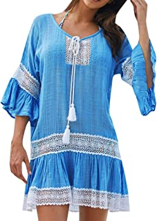 Women Sun Protection Dress, NDGDA Beach Cover Up Swimsuit Holiday Shirt Crochet Blouse Seaside Dress