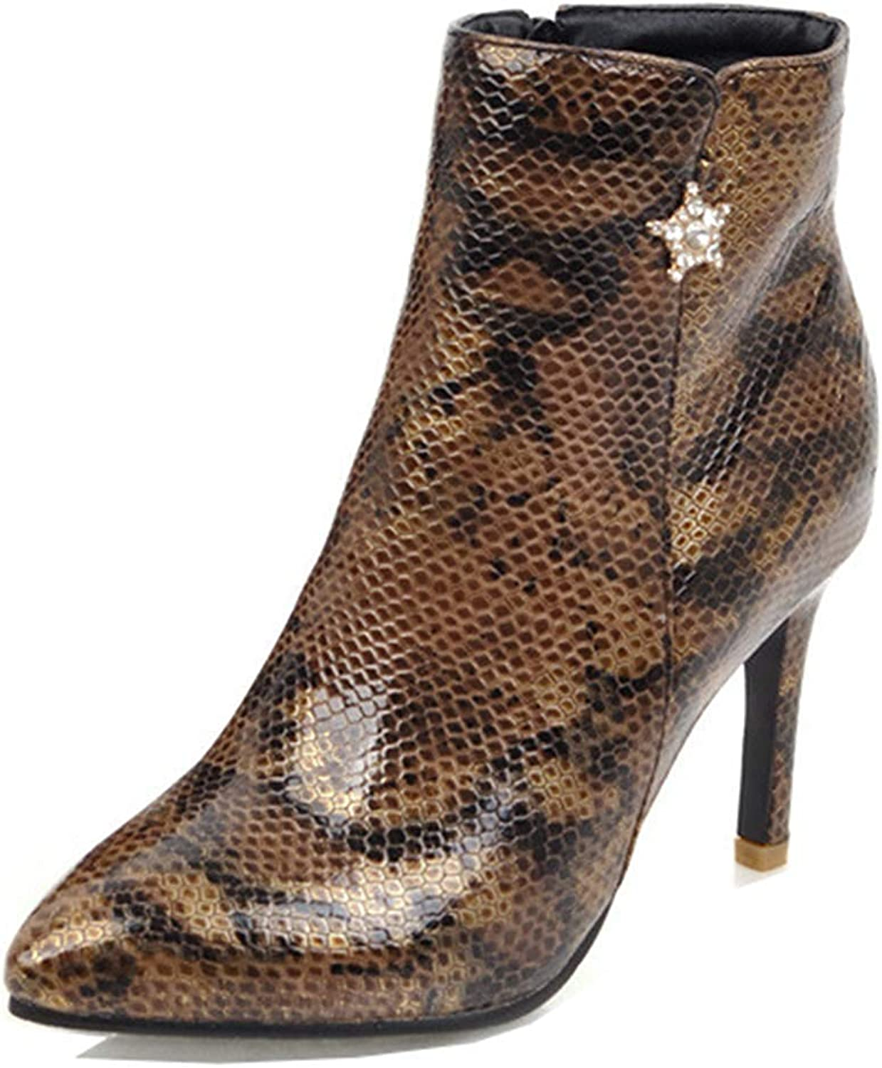 Unm Women's Sexy Snake Print Inside Zip Up Pointy Toe Dress Booties Stiletto High Heel Ankle Boots