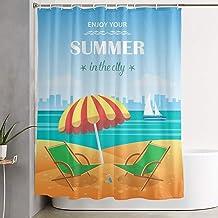 DHGER Cortina de la Ducha Funny Fabric Shower Curtain Summer in The Beach Waterproof Bathroom Decor with Hooks 60 X 72 Inch
