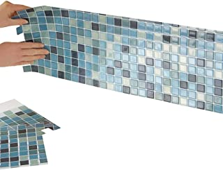 Collections Etc Multi-Colored Adhesive Mosaic Backsplash Tiles for Kitchen and Bathroom - Set of 6, Blue Multi