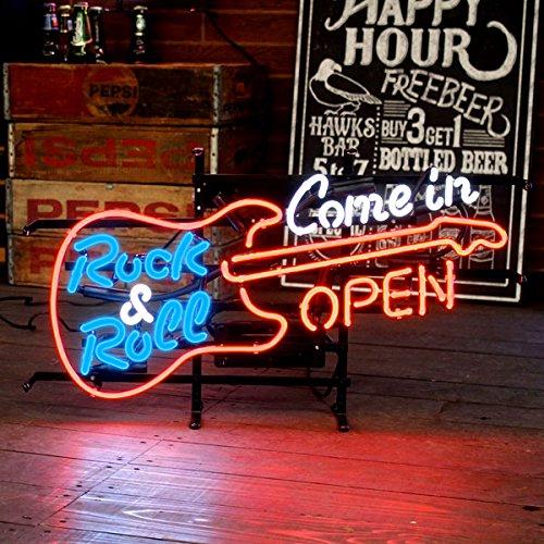 【アメリカン ネオンサイン/GUITAR OPEN (ギターオープン)】H660×W365mmロックンロール Rock&Roll ライブバー ライブハウス/ネオン管/照明/店舗装飾/店舗看板/アメリカン雑貨 ネオン看板