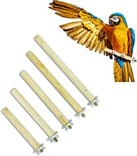 Esprite Parrot Perch Stand,  Natural Wood Bird Stand,  Pedi Perches for Bird Cage 5 PCS