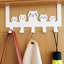 Father's Day Gift Zonman Cartoon Wall Mounted Bag Hanger Towels Rack Door Hanging Clothes Rack Free Nail Hanger Coat Rack Clothing Hooks (White)