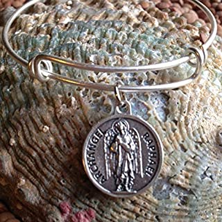 Archangel Raphael Medal Silver Expandable Charm Bracelet with Prayer on Back