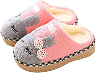 Kids Cute House Slippers Boys Girls Fuzzy Fluffy Home Slippers Winter Fur Lined Warm Indoor Bunny Shoes