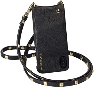 Bandolier Sarah Crossbody Phone Case and Wallet - Black Leather with Gold Detail - Compatible with iPhone 8, 7, 6 Only