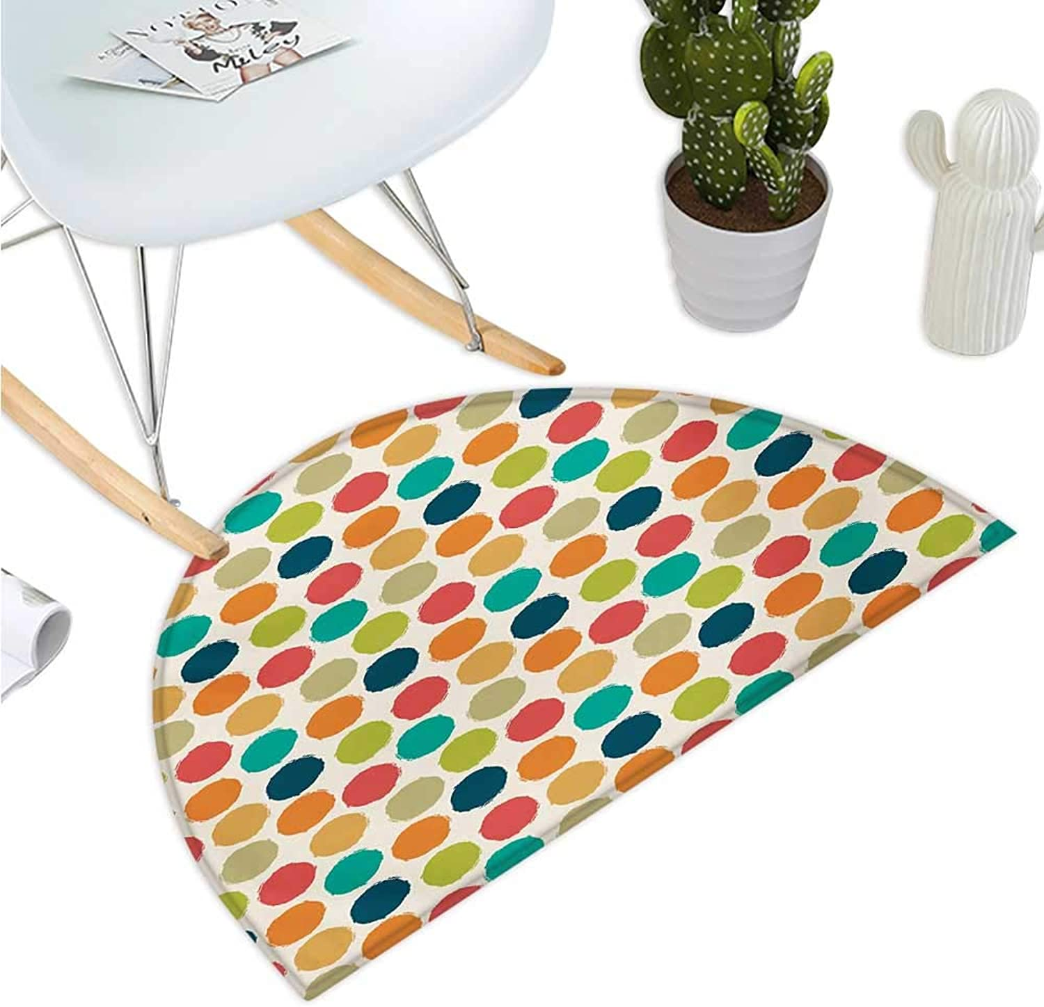 Retro Half Round Door mats Hipster Design Soft colord Big Polka Dots Pattern Vintage Style Spotted Graphic Bathroom Mat H 39.3  xD 59  Multicolor