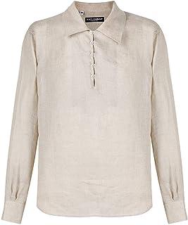 ラグジュアリーファッション | Dolce E Gabbana メンズ G5HD4TFU4JDM0198 ベージュ リネン シャツ | 春夏20