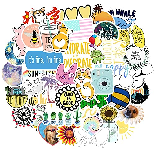 Fresh Ins Wind Cute Fresh Cartoon Graffiti Sticker Notebook Teacup Maleta Vsco Pegatina Decoración 50pcs