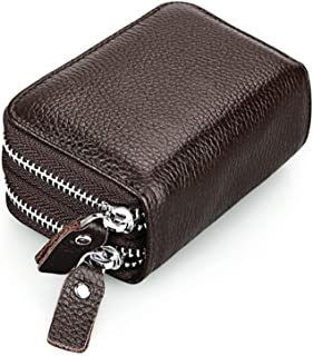 Ladies Wallet RFID Protection Unisex Leather Bovine Leather Wallet (Color : Coffee, Size : One Size)