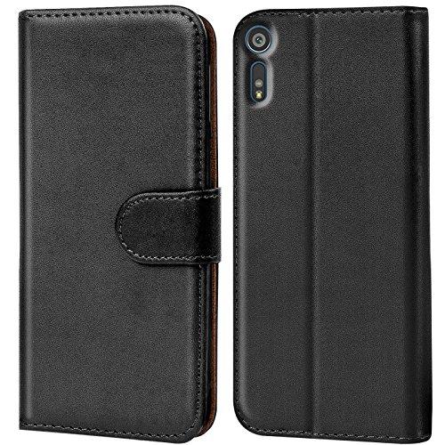 Verco Xperia XZ Hülle, Handyhülle für Sony Xperia XZ Tasche PU Leder Flip Hülle Brieftasche - Schwarz