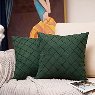 Homiin Christmas Decorative Pillow Covers 18x18 inches, Pack of 2 Retro Style Throw Pillow Covers with Nature Fabric, Hand-Made Square Fall Pillow Covers for Your Home Decor