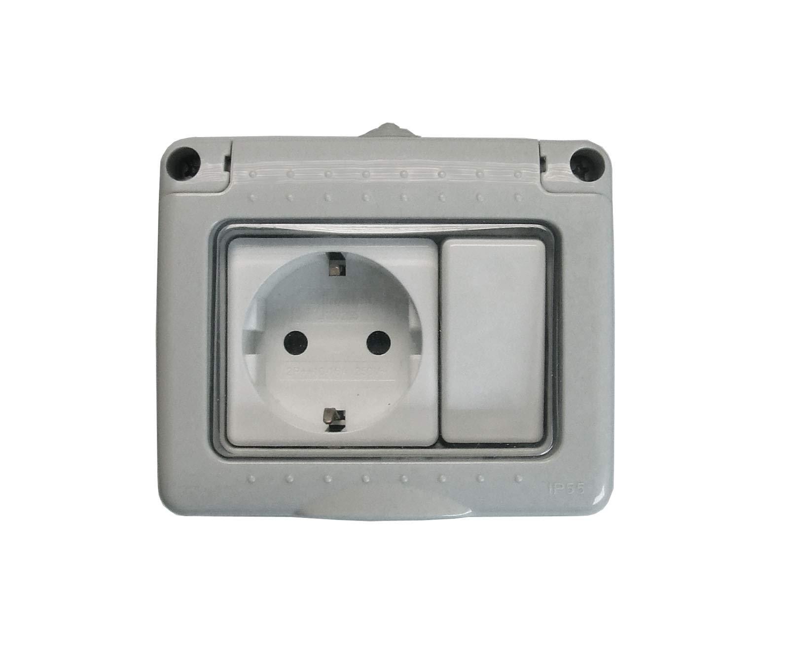 Bf bf-19 - Interruptor+base enchufe schuko gris bolsa: Amazon.es: Bricolaje y herramientas
