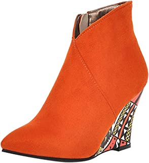 Kauneus Womens Wedges Ankle Boots Fancy Wedge Heels Pointed Toe Side Zipper Suede Booties Fashion Boot