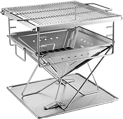LQJZ-ミラー Garden BBQ Barbeque Grill,Outdoor Charcoal BBQ Grill,Stainless Steel Square BBQ Grill Adjustable Height,Multifunction Smoker BBQ for Camping Picnic