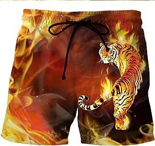 Men'S Clothing Beach Shorts Tiger Print Casual