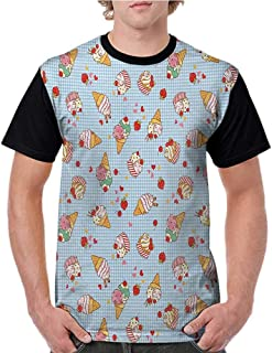 T Shirt,Ice Cream,Sweet Cherries on a Checkered Tartan Motif with Hearts Love Valentines Print,Multicolor S-XXL Baseball Tee for Girls