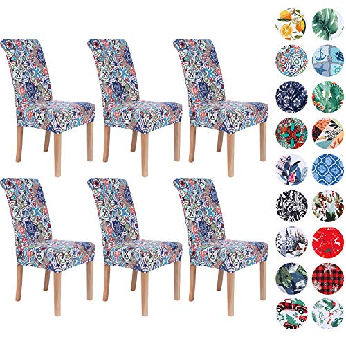 Colorxy Spandex Chair Covers for Dining Room Set of 6, Stretch Printed Chair Protectors Covers, Removable and Washable, Patchwork Moroccan