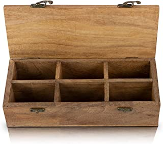 Wooden Tea Box Storage Chest Organizer Container Holder Rack With 6 Storage Compartments For Assorted Variety Of Loose Tea...