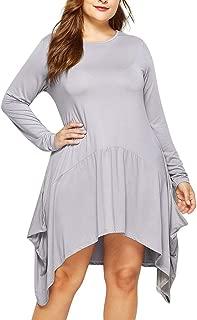 SEXYTOP 2019 New Women Daily Dresses Solid Casual Long Sleeve Irregular Hem Crew Neck Plus Size Basic Dress Vestidos