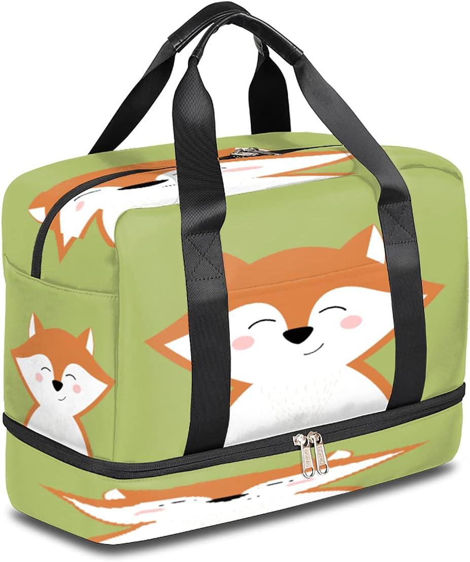 2021 model Sports Virginia Beach Mall Gym Bag Cheerful Animal Duffel Fox Travel Lightweight