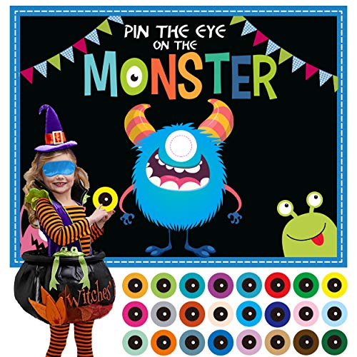 MISS FANTASY Halloween Games for Kids Pin The Eye on The Monster Games Halloween Party Games Activities Halloween Pin The Monster Games for Kids Party