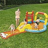 Piscina Inflable para niños Toboganes inflables Piscina Infantil de PVC con Bolos Ocean Ball y Bomba Inflable para niños de 2 a 4 años Jardín al Aire Libre Playa Uso del Parque acuático 435 x 213