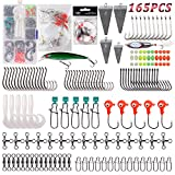 Saltwater Surf Fishing Tackle Kit- Fishing Gear Tackle Box Leader Rigs Fishing Rig Bucktail Jig Minnow Lures Spoon Pyramid Sinker Hooks Swivel for Saltwater Beach