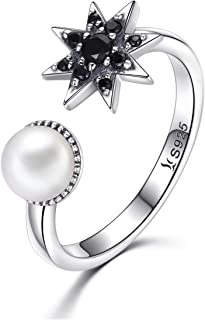 Everbling Freshwater Pearl White /& Pink 925 Sterling Silver Adjustable Ring