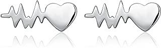 Lifeline Pulse Heartbeat Earrings Sterling Silver Nurse Jewelry Gift