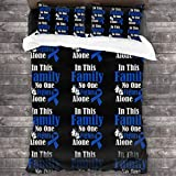 POOP LOOL In This Family No One Fights Alone Colon Cancer Comforter 3 Piece Bedding Set Duvet Covers Pillowcases 86 X70 Inches