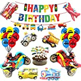Transportation Party Supplies,Happy Birthday Banner Cars School Bus Train Fire Truck Motorcycle Plane Vehicle Balloons Set And 18 Pcs Car Bus Train Plane Ship Helicopter Traffic Light Car Cake Toppers for Construction Party Decorations
