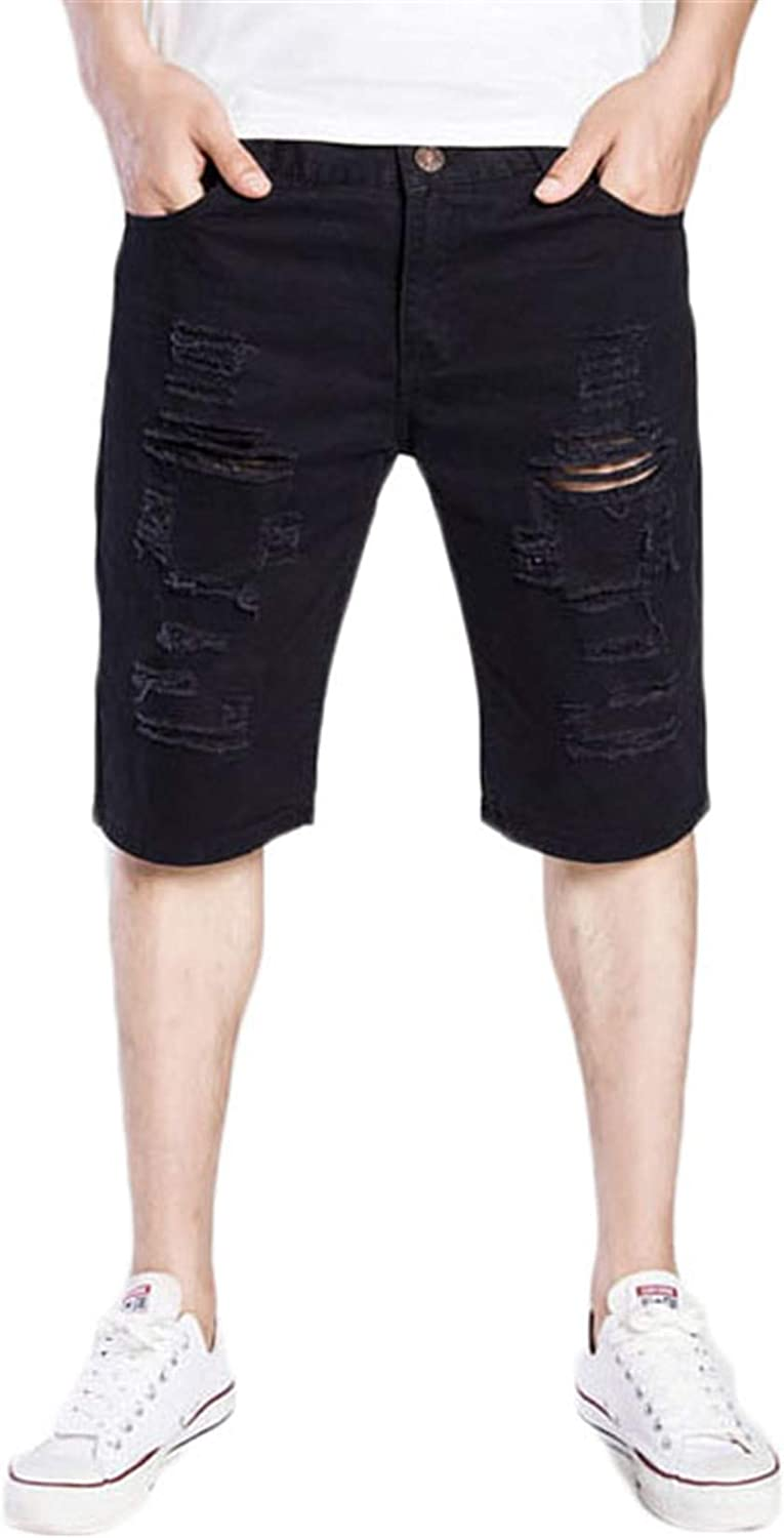 Andongnywell Men's Casual Denim Shorts Distressed Stretchy Jeans Ripped Short Denim Pants with Pockets