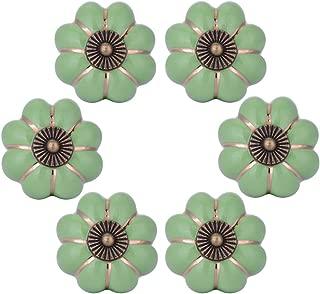 WOLFTEETH Green Pumpkin Knobs Vintage Ceramic Pulls Kitchen Cabinet Dressing Table Dresser Handle 6pcs