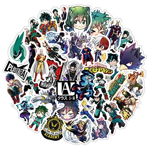 Elibeauty 50PCS My Hero Academia Anime Stickers,Laptop Computer Bedroom Wardrobe Car Skateboard Motorcycle Bicycle Mobile Phone Luggage Guitar DIY Decal Gift
