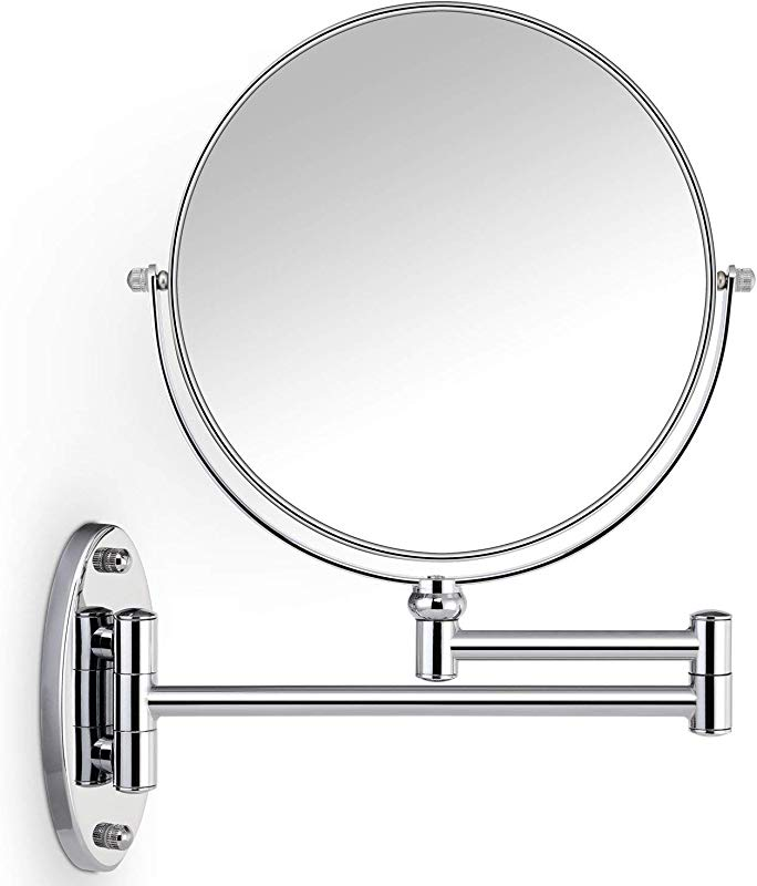 Miusco 10X Magnifying Two Sided Wall Mount Makeup Mirror 8 Inch Round Chrome