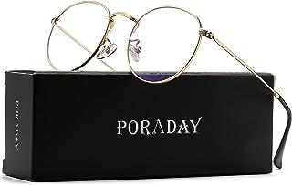 Blue Light Blocking Glasses for Women Men Retro Round Metal Eyeglasses Frames 100% Anti-Blue Light Lens
