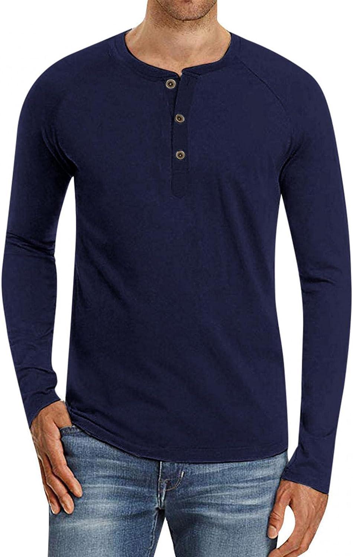 KEEYO Mens Casual Slim Fit Henley Shirts Long Sleeve Regular-Fit Lightweight Basic Tee Active Jerseys Cotton T-Shirt Tops