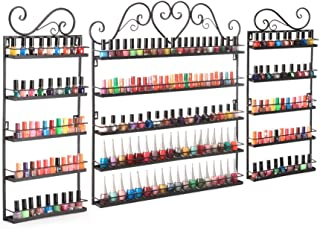 DAZONE Nail Polish Organizer Wall Mount Rack Hold 200 Bottles Nail Polish/Essential Oil Storage Display Holder Shelf 3 Pcs Included Black