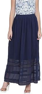 oxolloxo Women's Polyester Long Skirt (Blue)