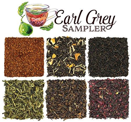 Loose Leaf Earl Grey Tea Sampler with Six Varieties of Earl Gray Tea including Classic Black, Russian, French, Oolong, Rooibos Herbal & Pan-Fried, Makes 120+ Cups of Tea