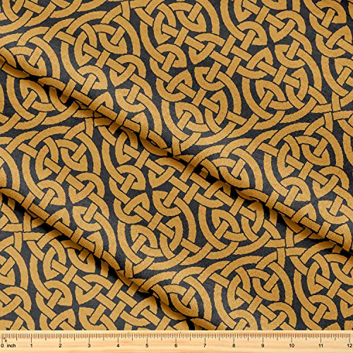 Fabric by The Yard [ 58' inches x 1 Yard ] Decorative Fabric for Sewing Quilting Apparel Crafts Home Decor Accents (Celtic Knot Infinity Pattern)