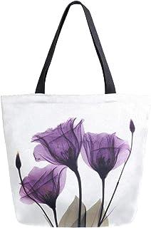 ZZKKO ZZKKO Einkaufstasche mit Mohnblumen-Motiv, Segeltuch, für Damen, Lehrer, Lila, Baumwolle, Einkaufstasche, Handtasche, wiederverwendbar, Mehrzweckverwendung